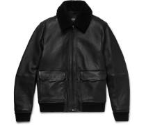 Shearling-trimmed Full-grain Leather Bomber Jacket