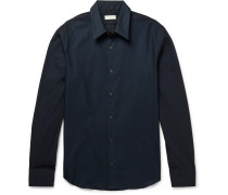 Slim-fit Mesh And Cotton-poplin Shirt