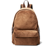 Leather-trimmed Suede Backpack