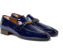 Peer Chain-trimmed Textured Patent-leather Loafers