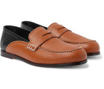 Two-tone Textured-leather Collapsible-heel Loafers