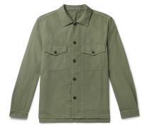 Garment-Dyed Herringbone Cotton and Linen-Blend Overshirt