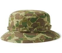 Camouflage-Print Cotton-Herringbone Bucket Hat