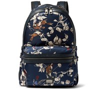 Printed Leather-Trimmed Satin Backpack