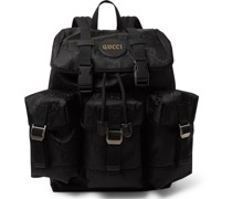 Off the Grid Leather-Trimmed Monogrammed ECONYL Canvas Backpack