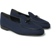 Marphy Leather-trimmed Flannel Loafers