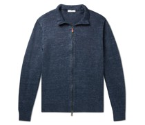 Washed Knitted Linen Zip-Up Sweater