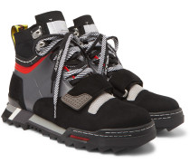 Rubber-Trimmed Suede and Mesh Hiking Sneakers