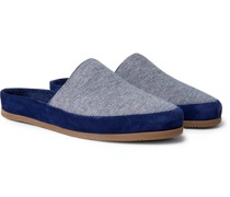 + Hamilton and Hare Suede-Trimmed Striped Cotton Slippers
