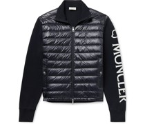 Quilted Nylon and Intarsia Cotton-Blend Down Jacket