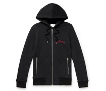 Slim-Fit Logo-Embroidered Loopback Cotton-Jersey Hoodie
