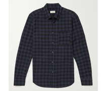 Button-Down Collar Checked Cotton-Blend Seersucker Shirt