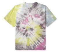 Temple Logo-Print Tie-Dyed Cotton-Jersey T-Shirt