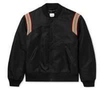 Leather and Webbing-Trimmed Padded Nylon Bomber Jacket