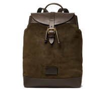 Textured Leather-Trimmed Suede Backpack