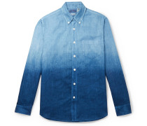 Slim-Fit Indigo-Dyed Two-Tone Linen-Chambray Shirt