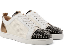Louis Junior Spikes Orlato Leather and Jacquard Sneakers