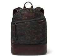 Kastrup Leather-trimmed Printed Nylon Backpack