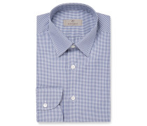 Blue Slim-fit Gingham Cotton Shirt