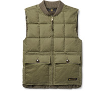 Quilted Brushed Cotton-blend Down Gilet
