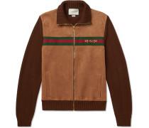 Horsebit Webbing-Trimmed Suede and Cotton-Jersey Bomber Jacket