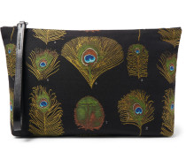Peacock Feather Leather-trimmed Jacquard Pouch