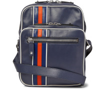 Striped Leather Messenger Bag