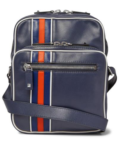 Striped Leather Messenger Bag
