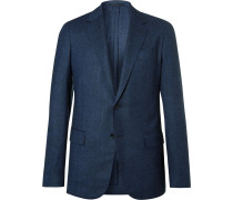 Eggsy's Navy Unstructured Birdseye Wool Blazer