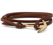 Anchor Gold-plated Leather Wrap Bracelet