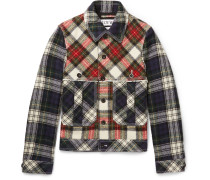 Patchwork Checked Wool Blouson Jacket