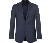 Blue Morgan Yale Herringbone Wool And Cotton-blend Blazer
