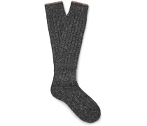 Mélange Virgin Wool-blend Over-the-calf Socks