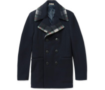 Check-trimmed Wool And Cashmere-blend Peacoat