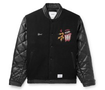 Canal Appliquéd Wool-Blend and Quilted Faux-Leather Bomber Jacket
