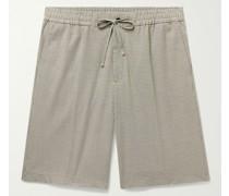 Adrian Puppytooth Stretch-Jersey Drawstring Shorts