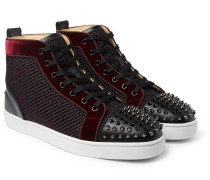 Lou Spikes Orlato Velvet, Raffia and Leather High-Top Sneakers
