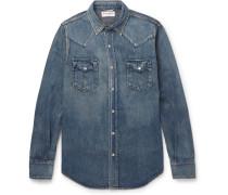 Slim-fit Washed-denim Western Shirt