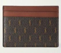 Leather-Trimmed Monogrammed Canvas Cardholder