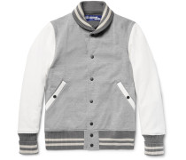 Cotton-blend Jersey And Faux Suede Bomber Jacket