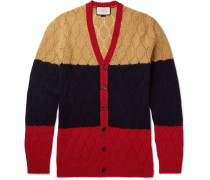 Colour-block Honeycomb-knit Wool Cardigan