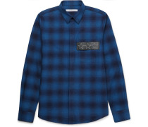 Slim-fit Leather-trimmed Checked Cotton-flannel Shirt