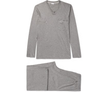 Mélange Mercerised Cotton-jersey Pyjama Set