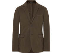 Brown Slim-fit Stretch-cotton Twill Blazer