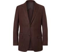 Burgundy Mélange Wool, Silk And Linen-blend Blazer