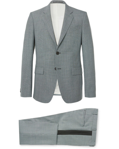 Blue Slim-fit Puppytooth Wool Suit - Blue