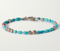 Burnished Sterling Silver, Turquoise and Coral Bracelet