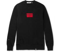 Appliquéd Distressed Cotton-blend Jersey Sweatshirt