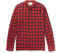 Slim-fit Tie-neck Checked Cotton-blend Shirt