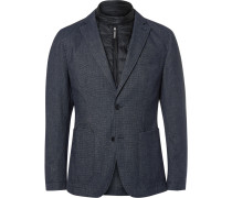 Blue Slim-fit Nalmar Layered Quilted Shell And Cotton Blazer